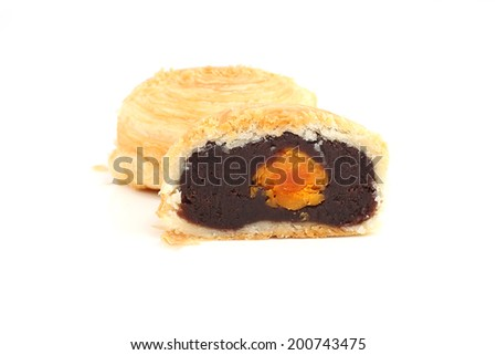 puff pastry red bean mooncake - stock photo