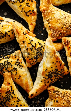 Puff pastry stuffed with grilled vegetables - stock photo