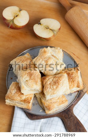 Puff pastry with apple. - stock photo