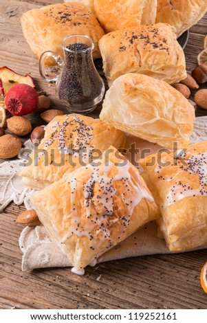 puff pastry with cinnamon sugar - stock photo