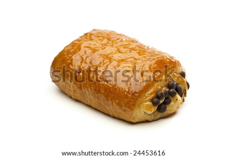 Puff pastry with coccolate isolated on a white background - stock photo