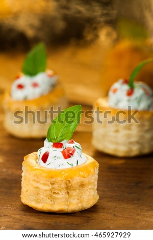Puff Pastry Cream Cheese Dill Paprika Stock Photo ...