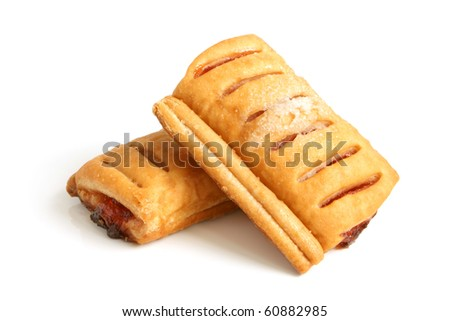 Puff pastry with jam on a white background - stock photo