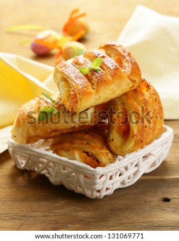 puff pastry with jam - sweet breakfast - stock photo