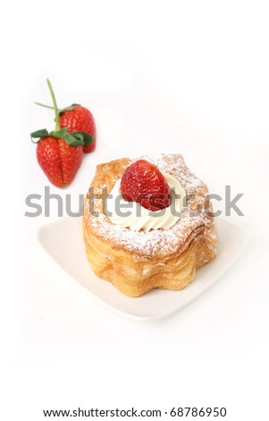 puff pastry with strawberry isolated on white background - stock photo