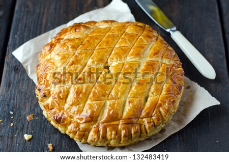 Puff pie with pineapple - stock photo