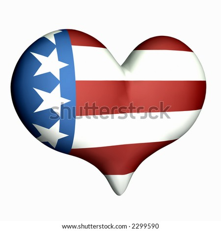 Puffy heart with US flag texture. Isolated on a white background. - stock photo