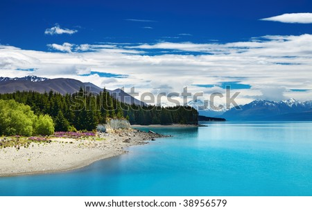 Pukaki lake and Southern Alps, New Zealand - stock photo
