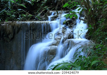 Pukang Waterfall, Paradise waterfall in Tropical rain forest of Thailand , water fall in deep forest at border of Chaing rai and phayao province Thailand .