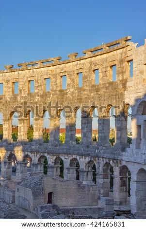 Pula, Croatia - Roman amphitheatre - stock photo