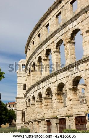 Pula, Croatia - Roman amphitheatre - detail - stock photo