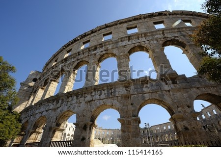 Pula in an ancient town on the croatian coast - stock photo