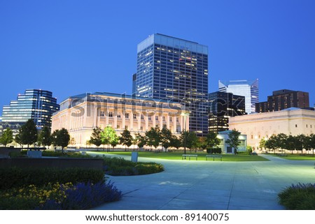 Pulaski Square in downtown of Cleveland seen night time. - stock photo