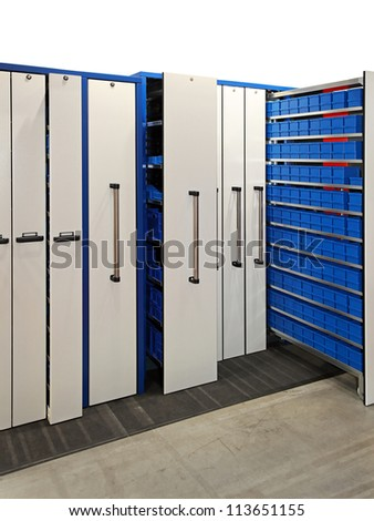 Pull out metal rack lockers in warehouse
