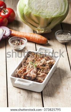 pulled pork in a bowl  - stock photo