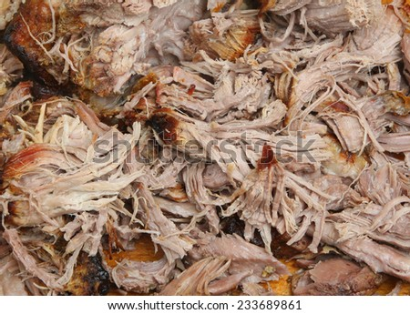 Pulled pork meat freshly shredded with forks. - stock photo