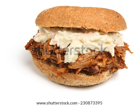 Pulled pork sandwich with coleslaw. - stock photo