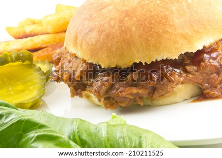 Pulled pork sloppy joe, a not so healthy summer American staple - stock photo