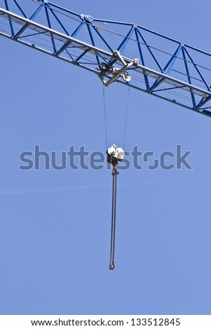 Pulley Hanging From A Crane - stock photo