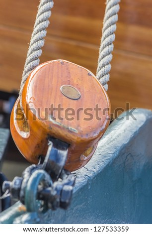 Pulley of an old ship in the center of Groningen, the Netherlands. - stock photo