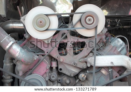 Pulley of engine motor is working - stock photo