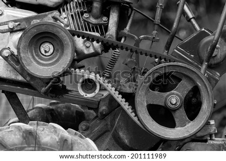 pulleys with belt in the  Small Engines. - stock photo