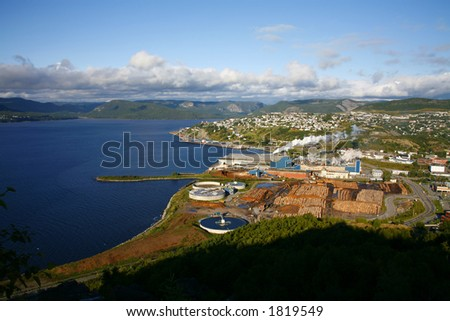 Pulp and Paper mill in Corner Brook, Newfoundland (Canada) - stock photo