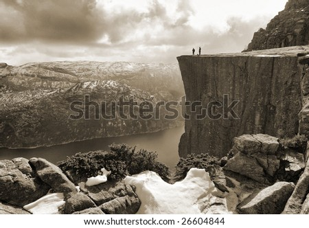 Pulpit Rock, view from the ascending path, Lysefjord, Norway - stock photo