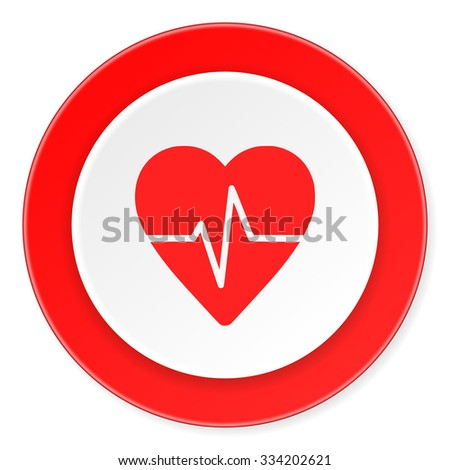 pulse red circle 3d modern design flat icon on white background  - stock photo