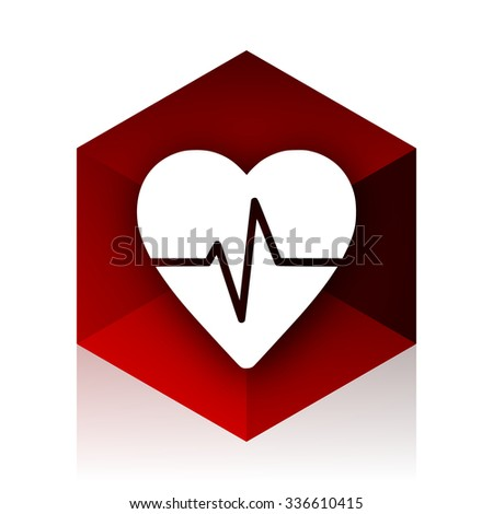 pulse red cube 3d modern design icon on white background  - stock photo