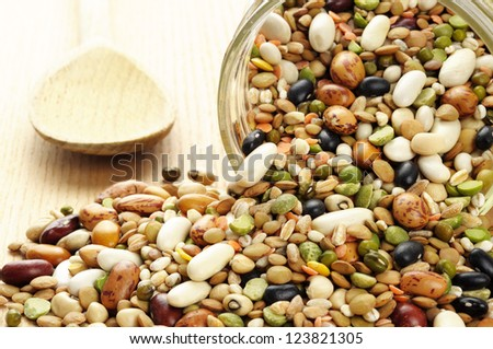 Pulses soup mixture in a jar - stock photo