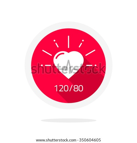 Pulsometer heart rate monitor watch icon flat, logo label, pictobagram badge, infographic element, health symbol, life line, blood pressure test tag cardiogram, medical pulse heartbeat, beating image - stock photo