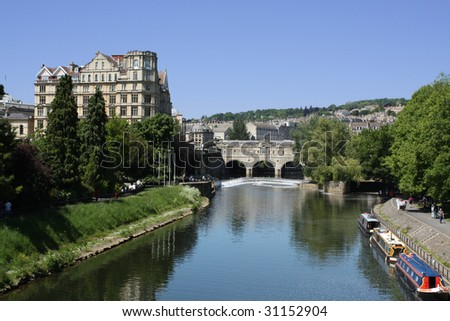 Pulteney Bridge in Bath, England - stock photo