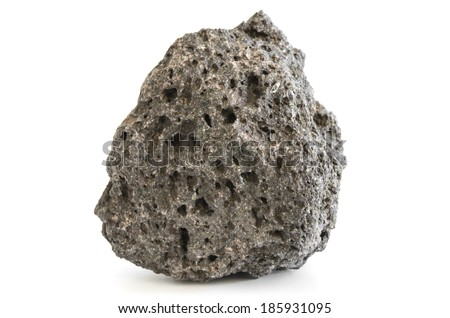 Pumice rough textured volcanic mineral isolated on white with shadow