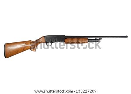 pump action shotgun isolated on white - stock photo