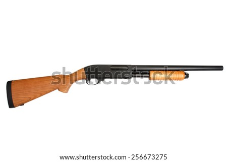pump action shotgun isolated on white - stock photo