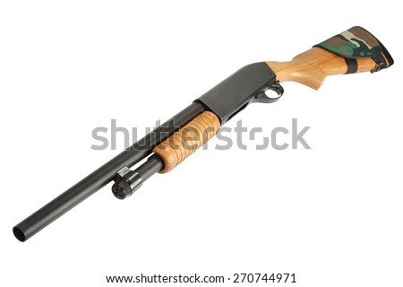 pump action shotgun with butt stock ammo holder isolated on white - stock photo