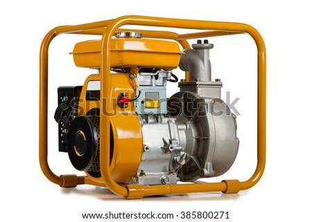 Pump for water with the gasoline engine on a white background. - stock photo