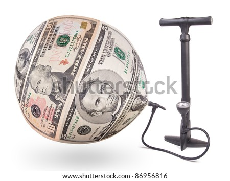Pump inflates the bubble of US dollars - the concept of inflation Money.  - stock photo
