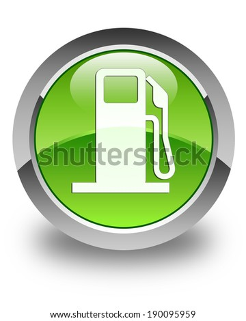 Pump station icon glossy green round button - stock photo