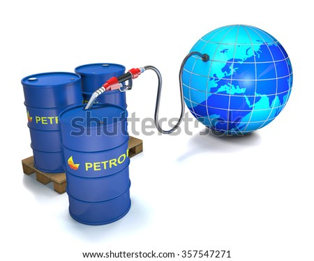 Pump sucks the oil out of the globe in a barrel on white background. - stock photo