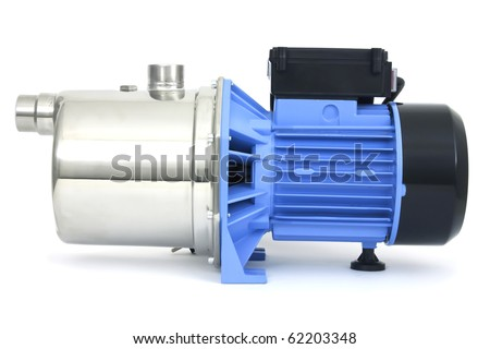 Pump with an electric motor of blue color - stock photo