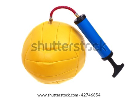 Pumping a yellow ball pump. White background. - stock photo