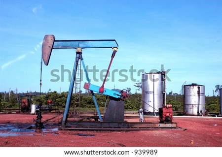 Pumping crude oil in Sangatta Oil Field in Kalimantan, Indonesia, Asia