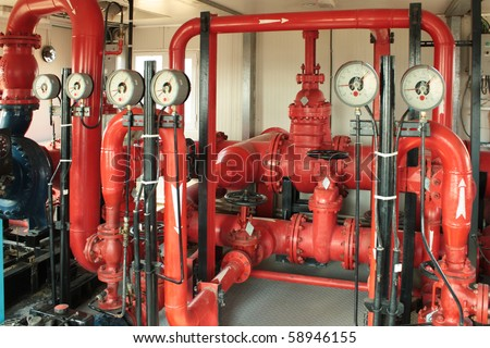 Pumping fire at the facility, the oil base. - stock photo