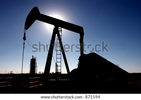 Pumpjack in silhouette