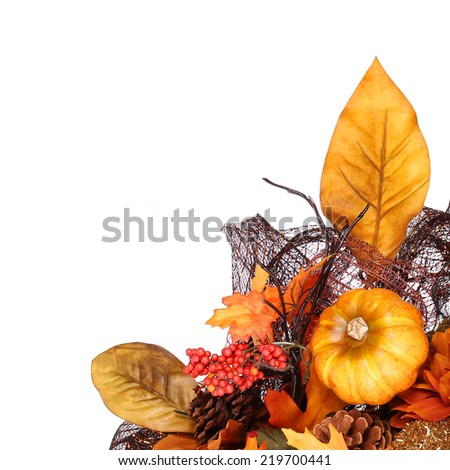 Pumpkin and Fall Leafs. Autumn or Thanksgiving Bouquet isolated.  - stock photo
