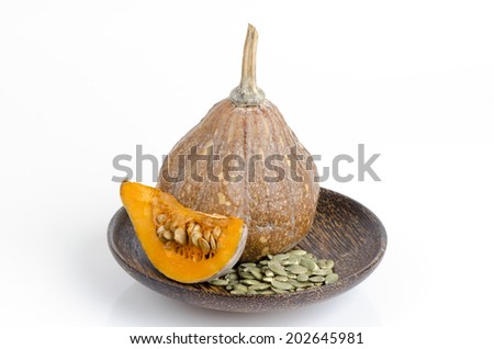 Pumpkin and gourd, pumpkin seed meal with benefits. - stock photo