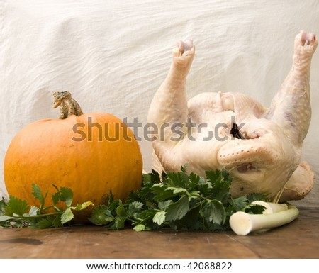 Pumpkin and turkey on the table - stock photo