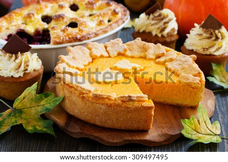 Pumpkin baking for the holiday Thanksgiving and Halloween. - stock photo